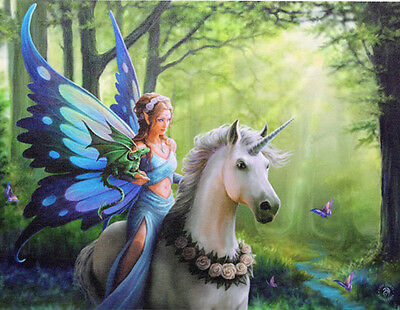 """Realm of Enchantment Fairy and Unicorn Canvas Art Print by Anne Stokes 10"""" x 7"""""""