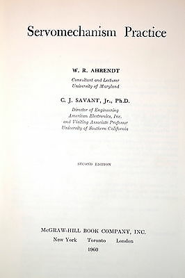 SERVOMECHANISM PRACTICE Book by Ahrendt & Savant 1960 RR125 electrical 566 pages