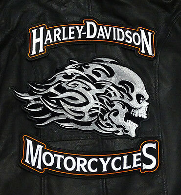 Harley 12 Inch Top Bottom Rocker With 12 Inch Head Butt 3 Pc Back Patch