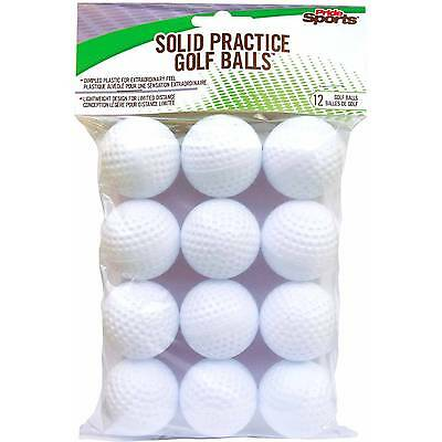 Pride Sports Hollow Plastic Practice Indoor Outdoor White Golf Balls, 12-Count