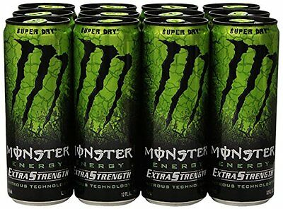 Monster Extra Strength Energy Drink Super Dry 12 Ounce Pack of 12 Super Dry