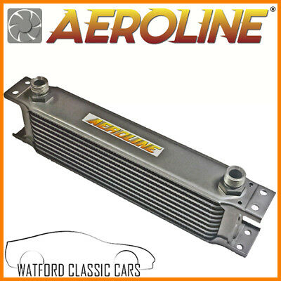 "Aeroline Silver 10 Row UNIVERSAL Oil Cooler 1/2"" BSP For Fast Road & Race"