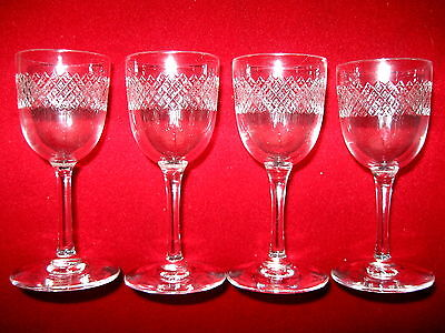 4 STUART CRYSTAL PEDESTAL NIP LIQUEUR SHERRY GLASSES Perfect