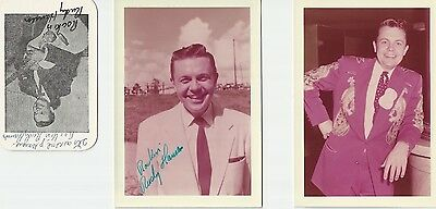 Rudy Hansen Fan Club Card + Photos 1956 - Grand Ole Opry Scrapbook Collection