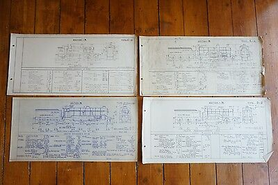 Section N Types C & D Locomotive Loco Railway Technical Drawing x4