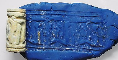 ZURQIEH - cy4- ANCIENT CANAANITE FAIENCE CYLINDER SEAL. 1700 - 1550 B.C