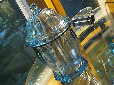 Vintage HEAVY Blue Paneled Glass Candy Stick Jar Ball Finial Lid