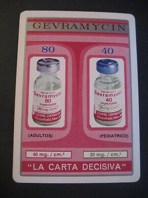 Inyectable GEVRAMYCIN. Carta de baraja. Single Playing Card