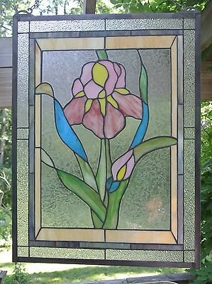 Handmade Flower Stained Art Glass Window Panel Wall Hanging