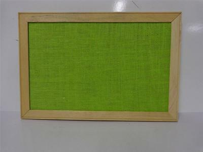Vintage 12 X 18 Green Burlap Message Bulletin Wood Frame Wall Mount Display