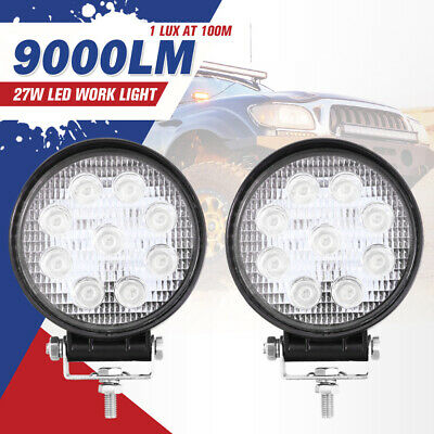 2PCS 27W Round LED Flood Work Driving Light Bar Lamp 4WD Offroad Reverse Truck