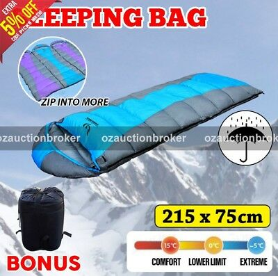 Hooded Envelope Outdoor Sleeping Bag Camping Hiking -10C Winter Large