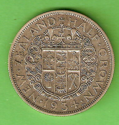 1934  New Zealand Silver Half Crown Coin