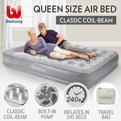 Bestway Queen Inflatable Mattress Bed Built-in Electric Air Pump Flocked Camping