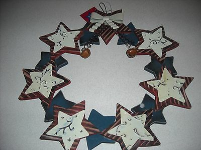NEW  primitive country patriotic star metal wood wreath decoration decor Army