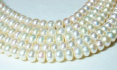 """Natural Rondelle pearl 8-9mm white freshwater pearl loose beads 15"""" Strand AAA"""