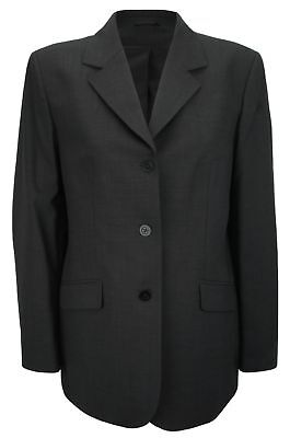 Simon Jersey Ladies Wool Mix Single Breasted Suit Jacket Charcoal Size 14
