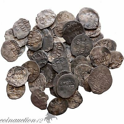 Lot Of 50 Uncertain Early Medieval Russian Silver Copeck Coins