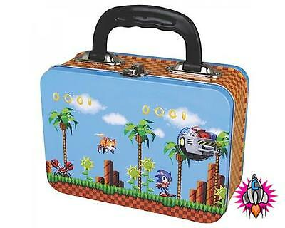 New Official Sega Sonic The Hedgehog Gold Rings Lunch Box Tote Tin Case