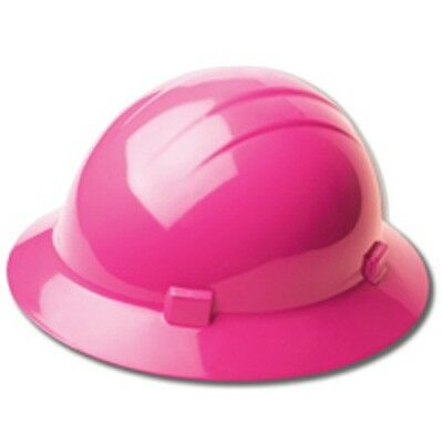 Made in USA Womens Vibrant Hot Pink Ratchet Suspension Wide FULL Brim Hard Hat