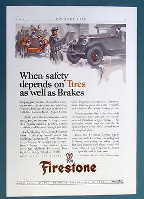 Original 1925 Firestone Ad WHEN SAFETY DEPENDS AS MUCH ON TIRES AS BRAKES