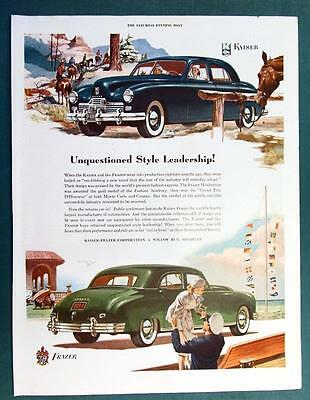 Original 1948 Kaiser Frazer Manhattan Ad UNQUESTIONED STYLE LEADERSHIP
