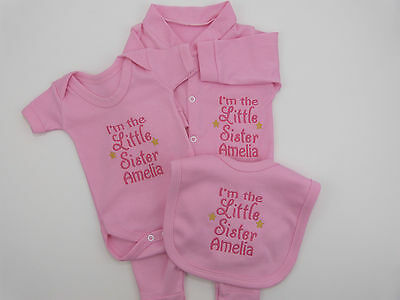 Personalised I'm The Little Sister Baby Gift Set Grow Vest Bib Cute Funny Gift