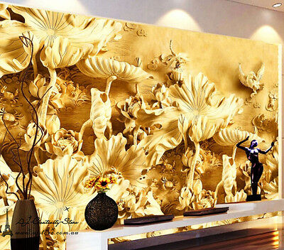 Large 3D Gold Flowers84 Wall Paper Wall Print Decal Wall Deco Indoor wall Murals