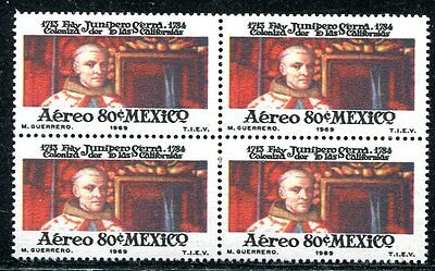Mexico 1969 Father Serra Error Stamp Showing Wrong Person Mint In A Block Of 4!