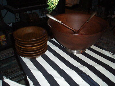 Vintage Wood Mahogany Salad Serving 9 Bowl Set W/ Sterling Silver Base & Handles