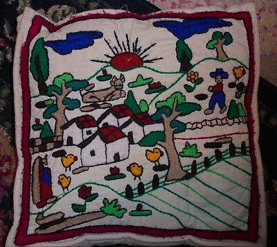 crewel embroidery chair cushion pillow chickens ethnic farm chics nature vintage