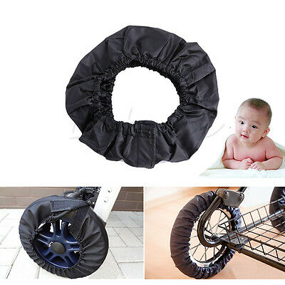 2Pcs Black Baby Carriage Stroller Wheels Covers Anti-dirty Pram Buggy Accessory