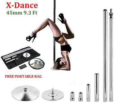 X-Dance 45mm Sturdy 9.3 Feet Dance Pole Chrome Fitness + 2 Carrying Bags NEW