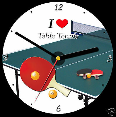 I Love Table Tennis CD Clock, can be personalised