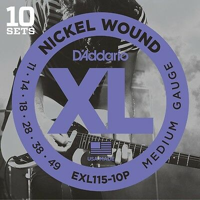 D'addario Exl115 10 Pack Electric Guitar String Sets 11-49 New Daddario Xl115