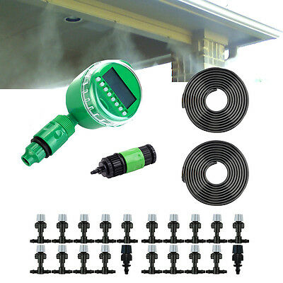 67' Automatic Misting Cooling System Watering Irrigation Timer Kit 20 Nozzles