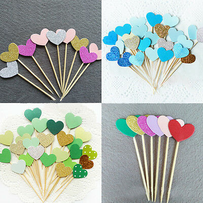 10 pcs Heart New Cake Topper Supplies Baby Shower Decorations Gold