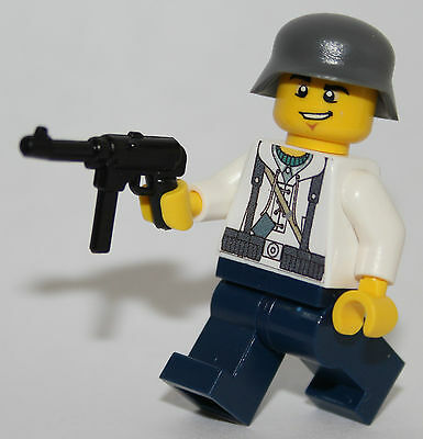 1 GERMAN soldier WW2 & MP-40 custom fig LUFTWAFFE field built using lego parts