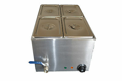 ACE 4 PAN WET WELL BAIN MARIE FOOD WARMER HOLDER inc PANS & LIDS mod-1B