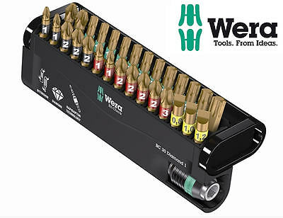 WERA Bi-Torsion DIAMOND 30 Pc PH/PZ/Torx Screwdriver Bit Set + Rapidaptor 057431
