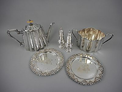 6pc Collection Sheffield Silver Plate Antique Teapot,Salt&Pepper Roberts Cadman+