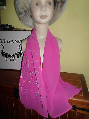 1 NEW Mixed Fibre Ladies Scarf CERISE PINK+PASTEL COLOURS ~ Xmas Gift Idea  #78