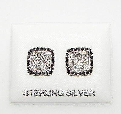 New 925 Sterling Silver Black & Clear Created Diamond Stud Earrings Gift Boxed
