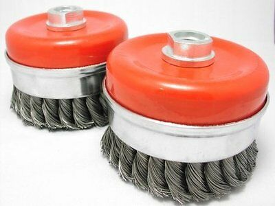 """2x 4"""" Bridle Knot Cup Brush 5/8-11nc angle grinder wire"""