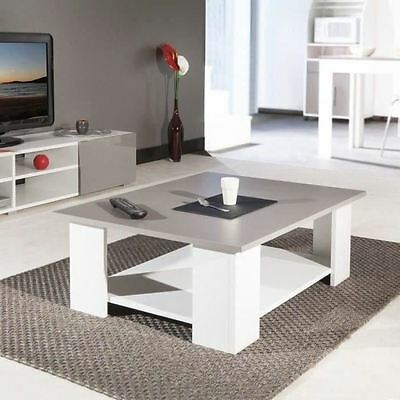 LIME Table basse 89x67x31cm blanc et taupe