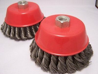 """2 x  5"""" Knot Cup Brush 5/8-11nc angle grinder wire"""