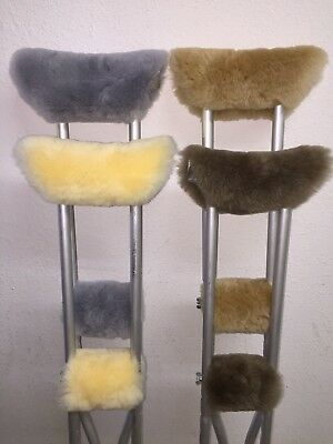 Real Merino Sheepskin Underarm Crutch Pad Covers + FREE Crutches Hand Grip Pads