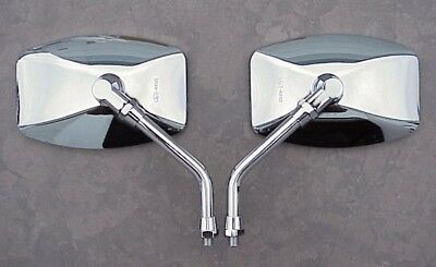 BIG CHROME MIRRORS to fit Kawasaki 10mm Handlebar Mount