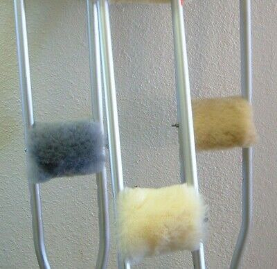 Crutch HAND Grip Pads by Just Merino Sheepskin Comfort Crutches Handles USA made