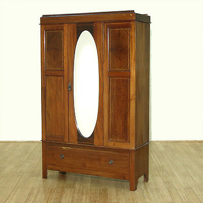 C1949 Antique English Inlaid Mahogany Armoire Wardrobe w/ Oval Mirror F-230-NA
